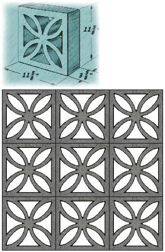 Mid Century Decorative Concrete Screen Block Beton