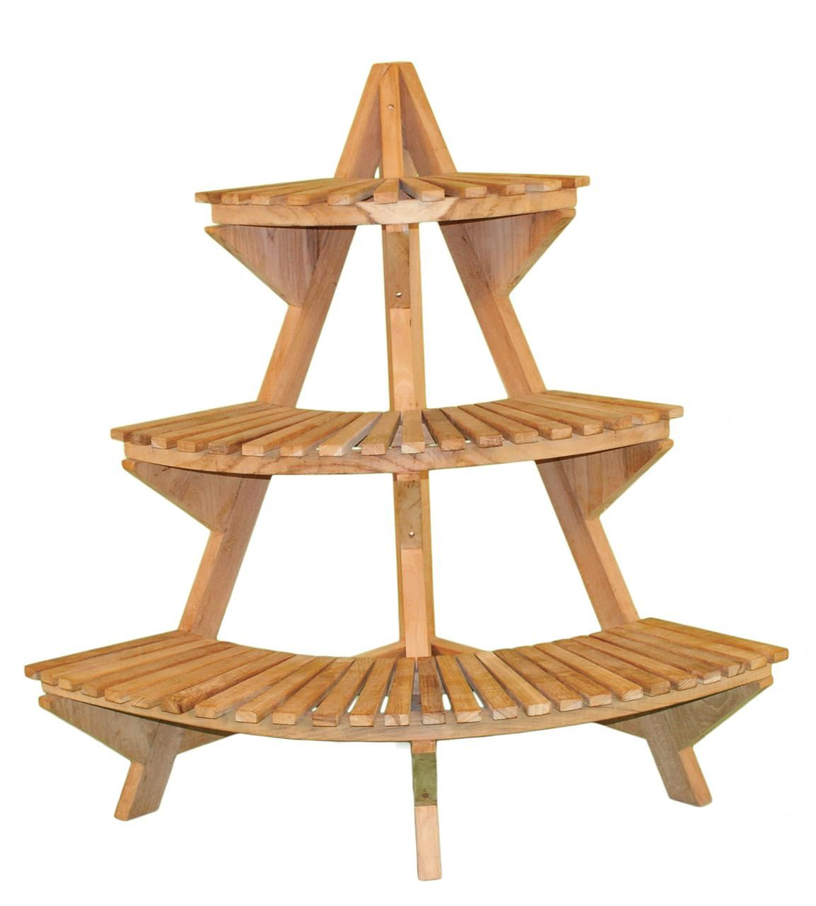 Jewels Of Java Teak Corner 3 Tier Plant Stand
