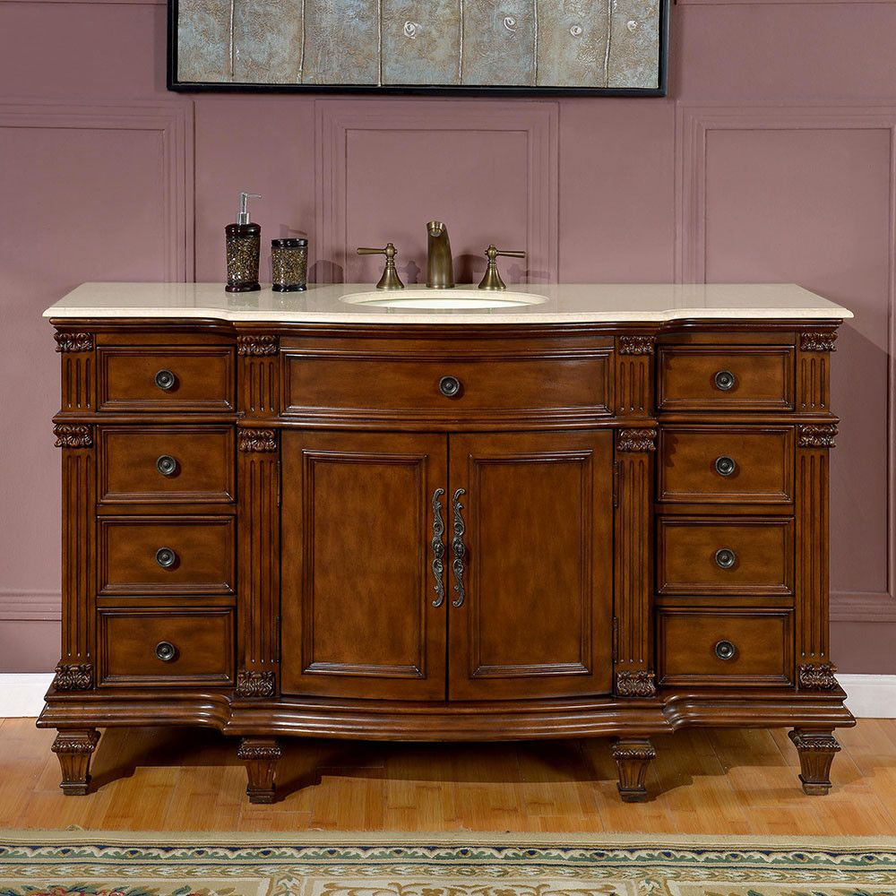 Charmant Accord Antique 60 Inch Bathroom Single Sink Vanity Chestnut Finish