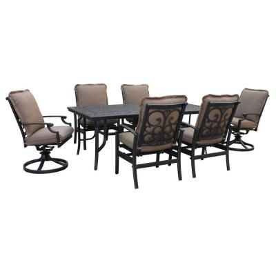 Thomasville Messina 7 Piece Patio Dining Set With Cocoa Cushions FG MN7PCDS