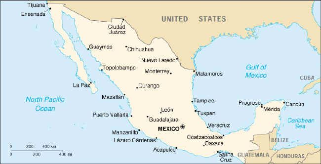 This is a map of Mexico with Oaxaca pointed out in the lower central