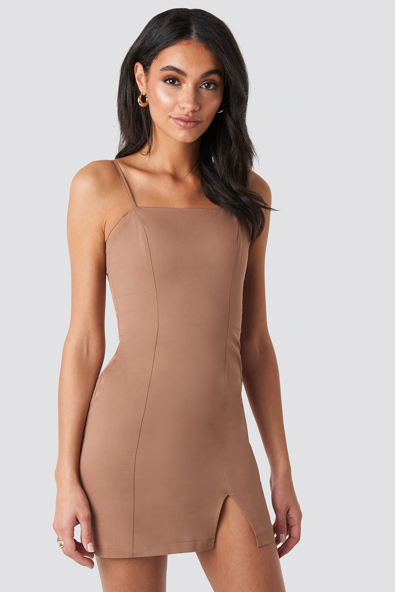 Fitted Mini Dress Beige