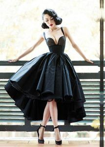 65aaf32fdce3 Black 1940s 1950s Retro Alternative Emo Prom Dress [maybe a bit less  boobage]