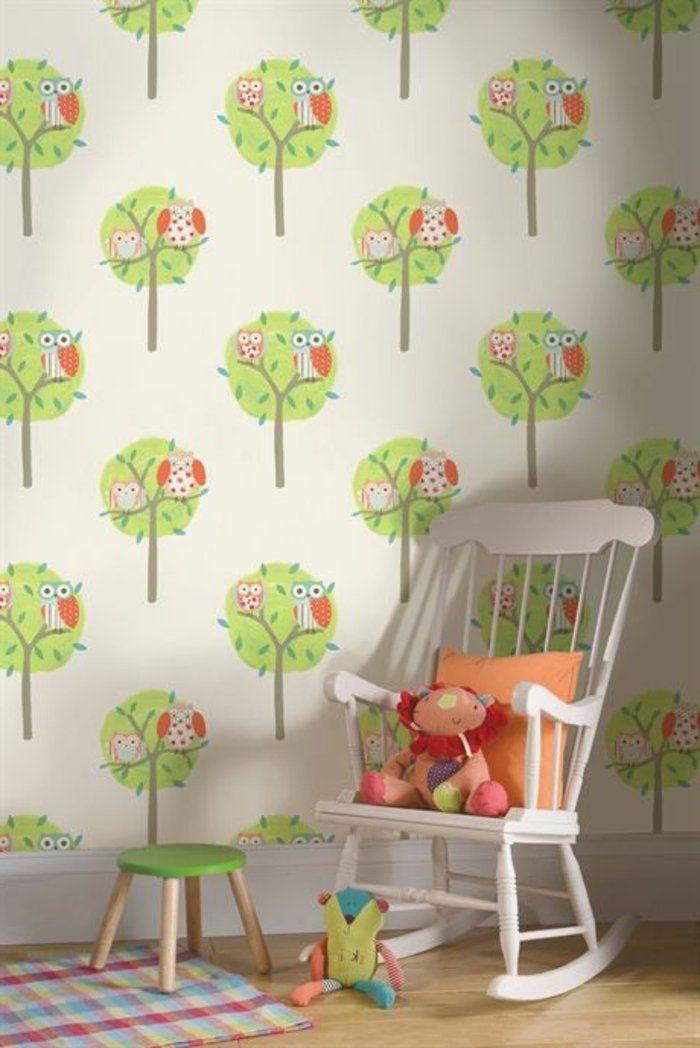 tapete muster kinderzimmer lustige wandtapete schaukelstuhl - babyzimmer orange grn