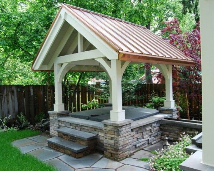 Pergola Over Hot Tub To Protect From Snow Or Rain And Give Shade