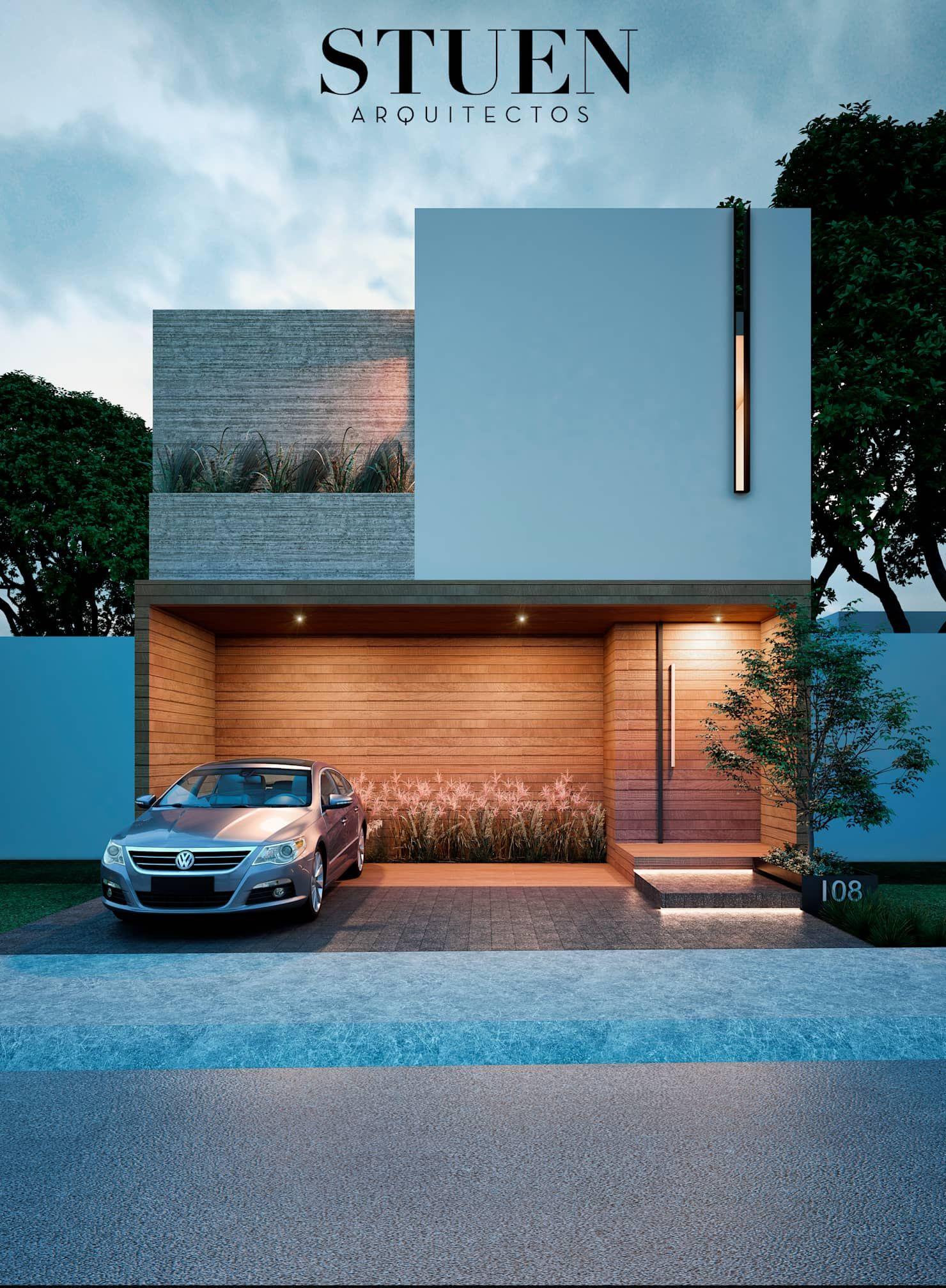 Arquitectura Fachadas De Casas Modernas Casas Modernas: Fachada Frontal De Stuen Arquitectos Moderno Madera Acabado En Madera En 2020