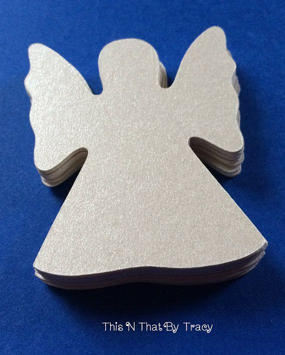 Metallic Champagne Pearl Christmas Angel Silhouettes Gift Tags  Quantity: 30  Color: Made from premium card stock - Metallic Pearl Champagne Size: Approximately 1.75 x 1.75  These are beautiful Angel silhouettes!! They will make your packages look even more beautiful with these Angels attached to them. You can choose to have a hole in the top for ribbon or twine or without the hole. They are also easy to write on using a fine point marker. I havent tried them with a regular ball point pen…