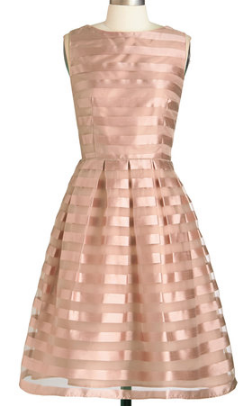 Beautiful Striped Dress In Rose Gold Under 100 Http Rstyle Me N Ux8wdnyg6 1950s Bridesmaid Dress Mod Cloth Dresses Dusty Rose Dress