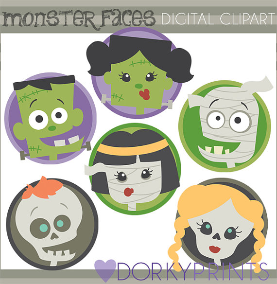 Halloween Clipart Monster Faces Personal And Limited Etsy Halloween Clipart Clip Art Monster Face