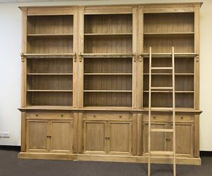 Three Bay French Provincial Style Library Bookcase With