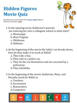 Hidden Figures Movie Guide Questions (Multiple Choice