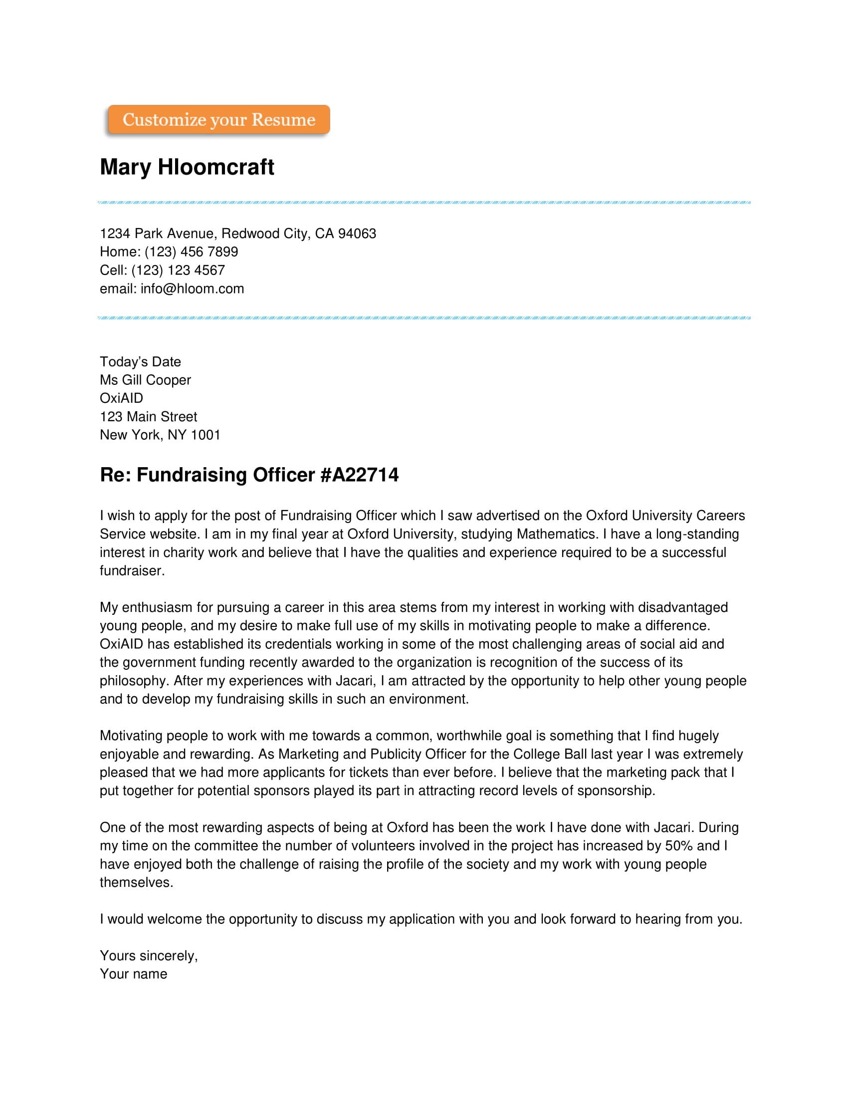Simple Cover Letter for Resume | Cover letter template ...