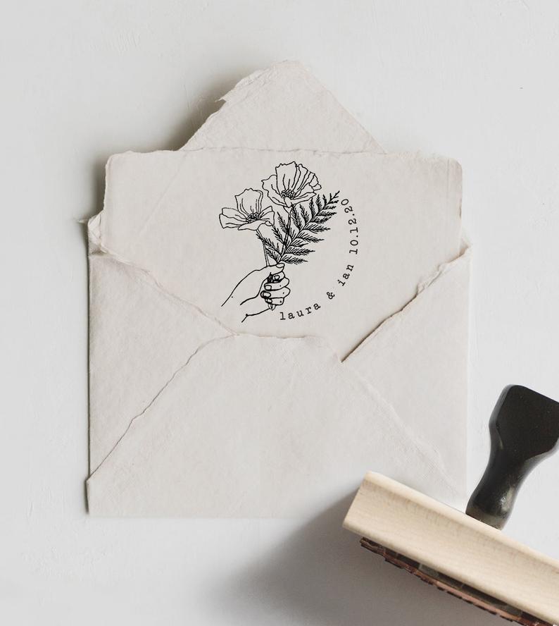 Custom Thank You Stamp Custom Name Stamp Wedding Names Etsy In 2020 Custom Stamp Wedding Florist Logo Wedding Stamp