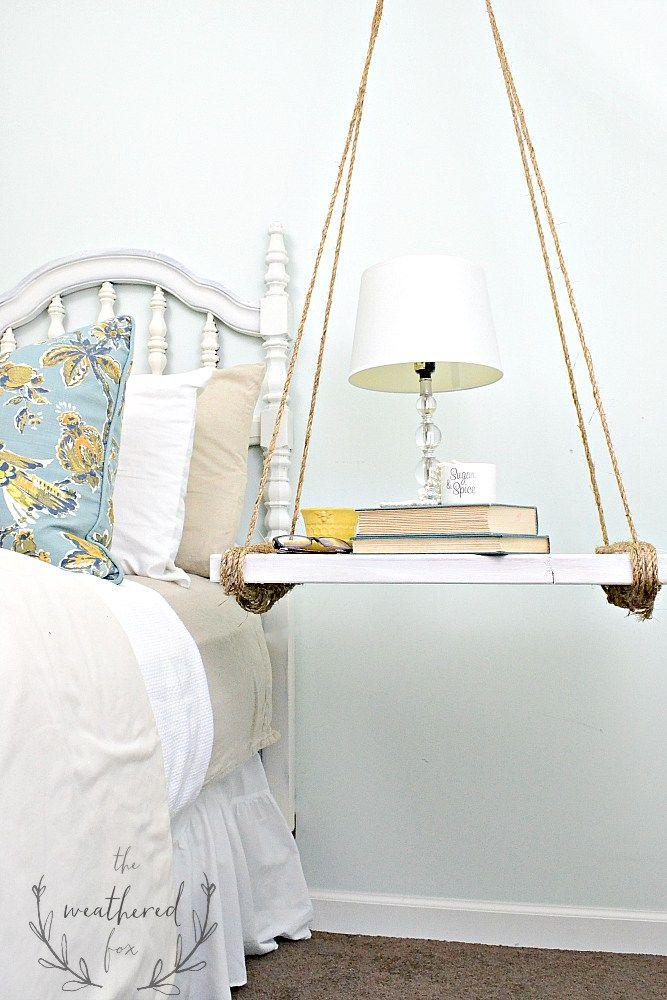 Hanging Nightstand Diy Diy Nightstand Nightstand Hanging Rope Shelves