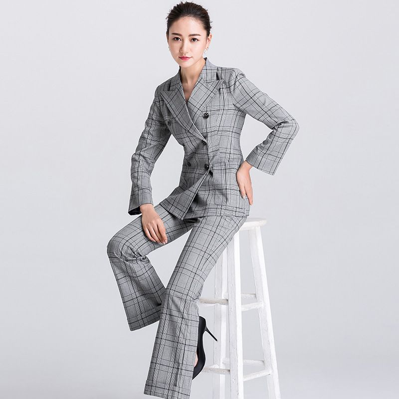 77c1093e80625 Suit Women Autumn Stylish Work Houndstooth Notched Double Breasted Slim  Polyester Women s Business Suits Two-piece W5370K5371