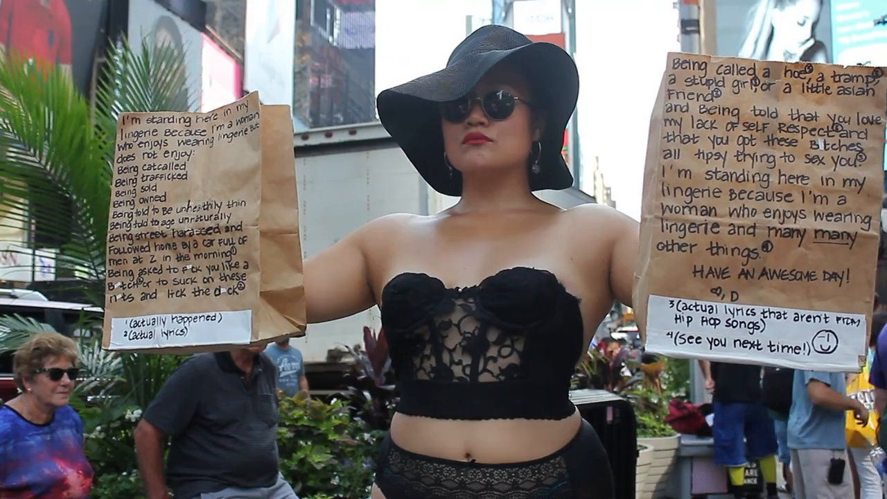 b8f92e388b Artist Diana Oh is Wearing Lingerie in Public to Reclaim Women s Sexuality