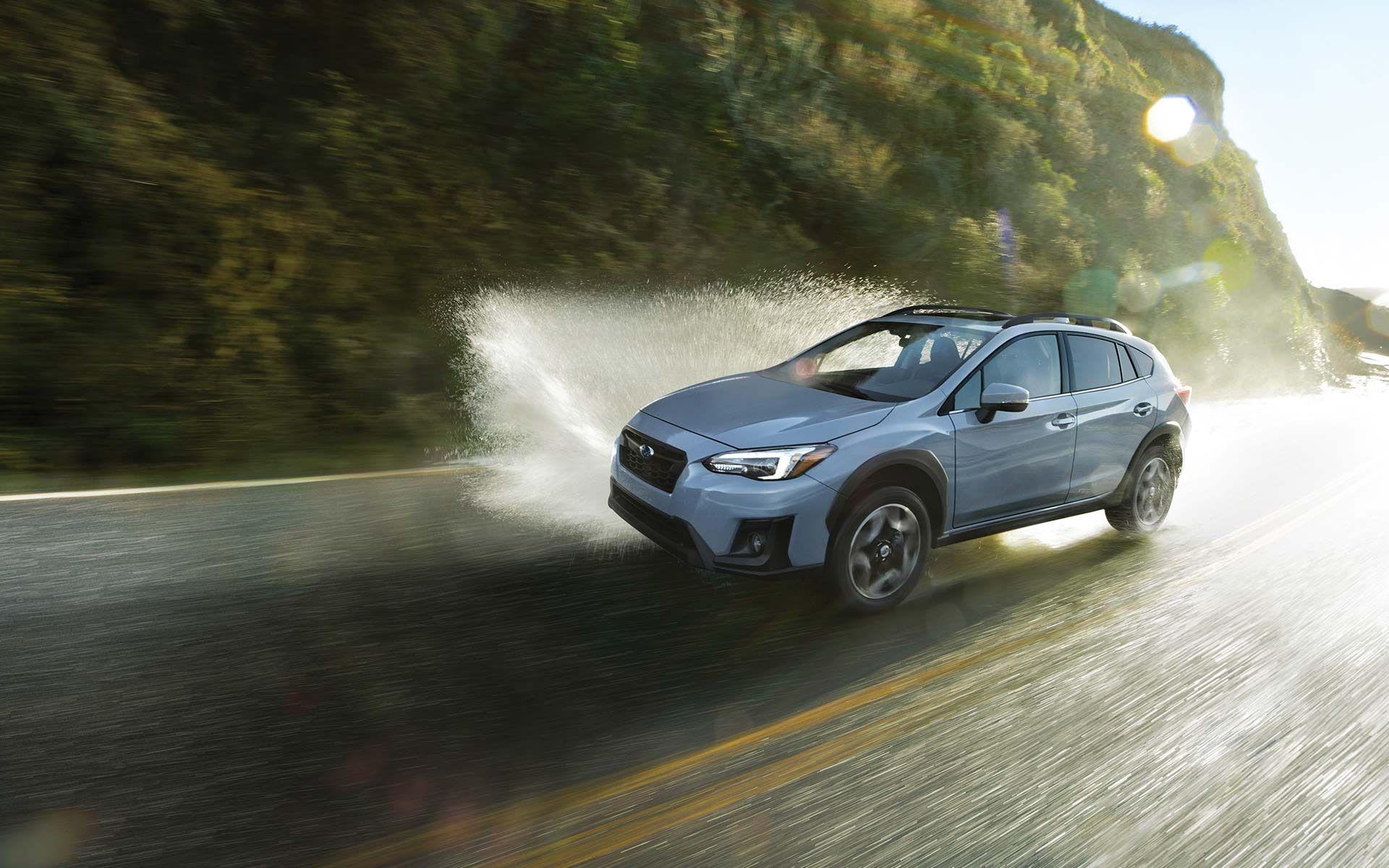 Crosstrek Driving On Wet Roadway Subaru Crosstrek