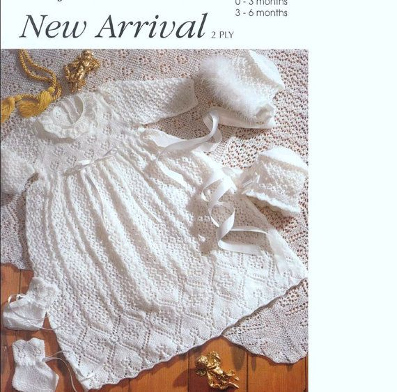 ac4811cb3 KNITTING PATTERN - Baby -Heirloom Style Baby s Christening robe ...