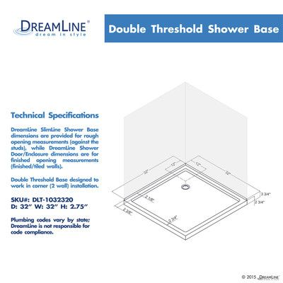 Dreamline Slimline 32 X 32 Double Threshold Shower Base Size