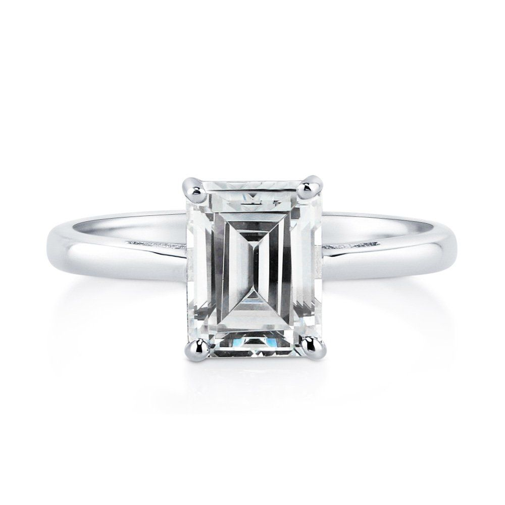 BERRICLE Sterling Silver CZ Solitaire East-West Promise Engagement Ring
