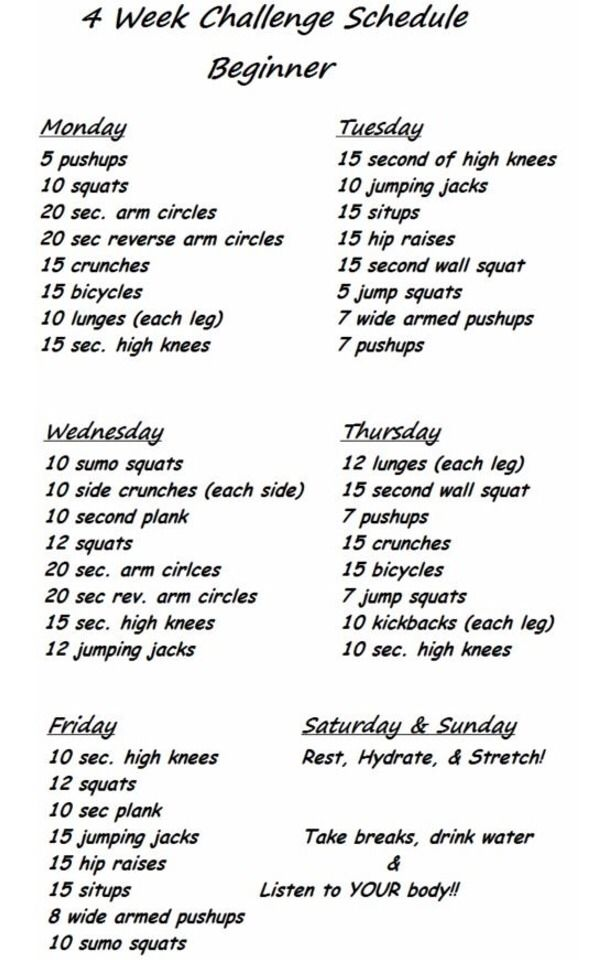 4 Week Challenge Schedule For Beginners 🎀 | Weight loss ...