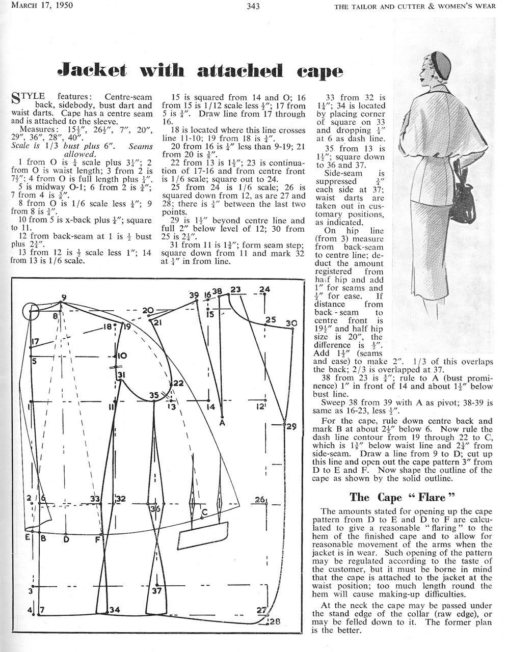 A Caped Jacket c1950 - The Cutter and Tailor | _Patternmaking ...