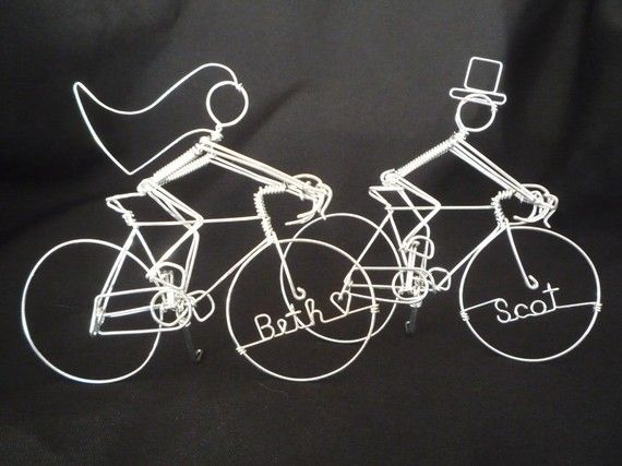 Personalized Racing Bike Riders Wedding Cake Topper