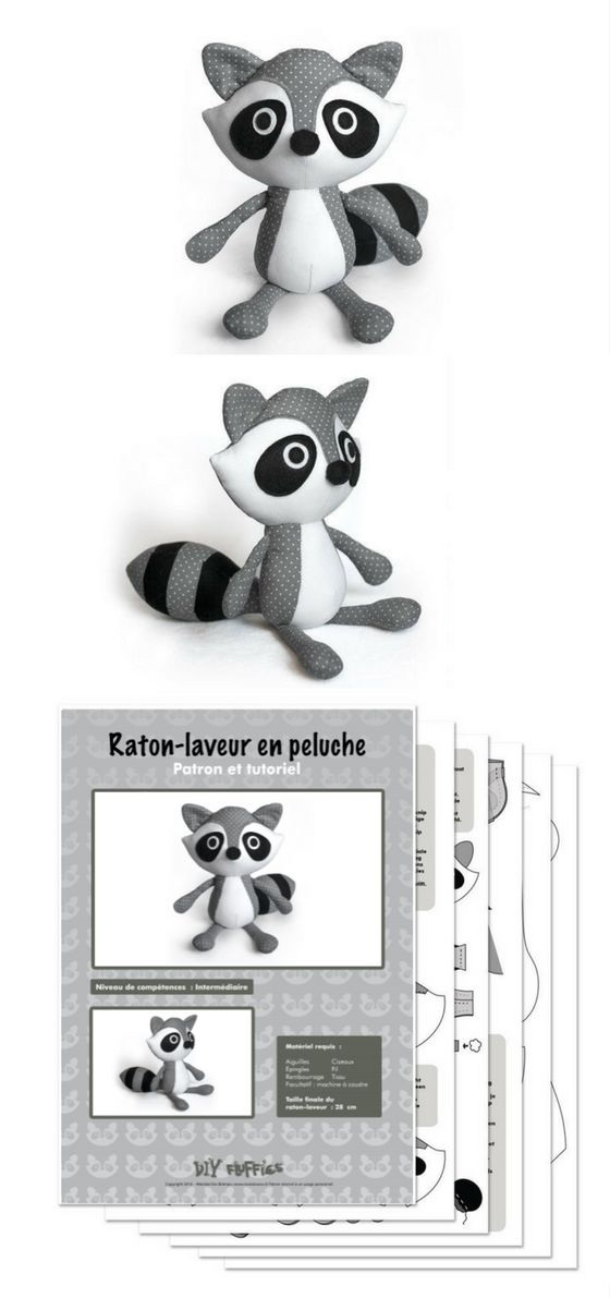 Patron de couture pdf raton-laveur | Doudou tout doux | Pinterest ...