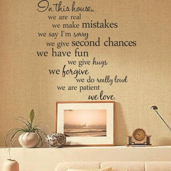 Removable In This House Rules Wall Mural Sticker Quote Decal Decor ...