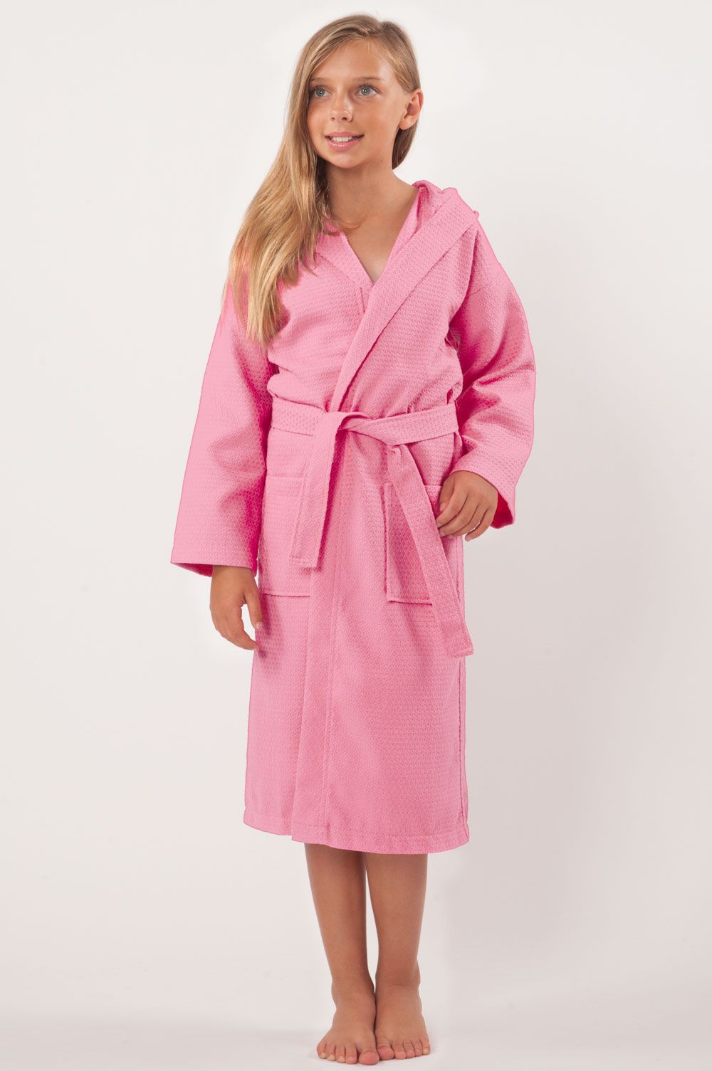 Kids Hooded Waffle Pink 100% Turkish Cotton Bathrobe  6255faba5