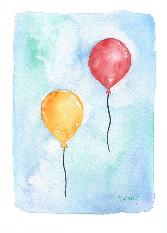 Watercolor balloons birthday card by susanwindsor on etsy for Watercolor ideas easy