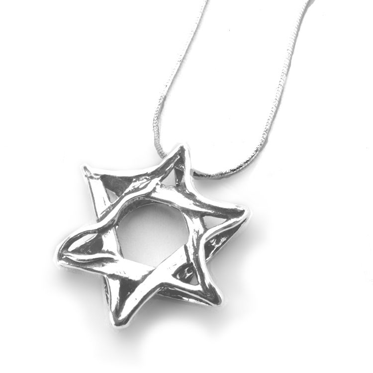 Silver Shablool Wavy Star of David Pendant Necklace