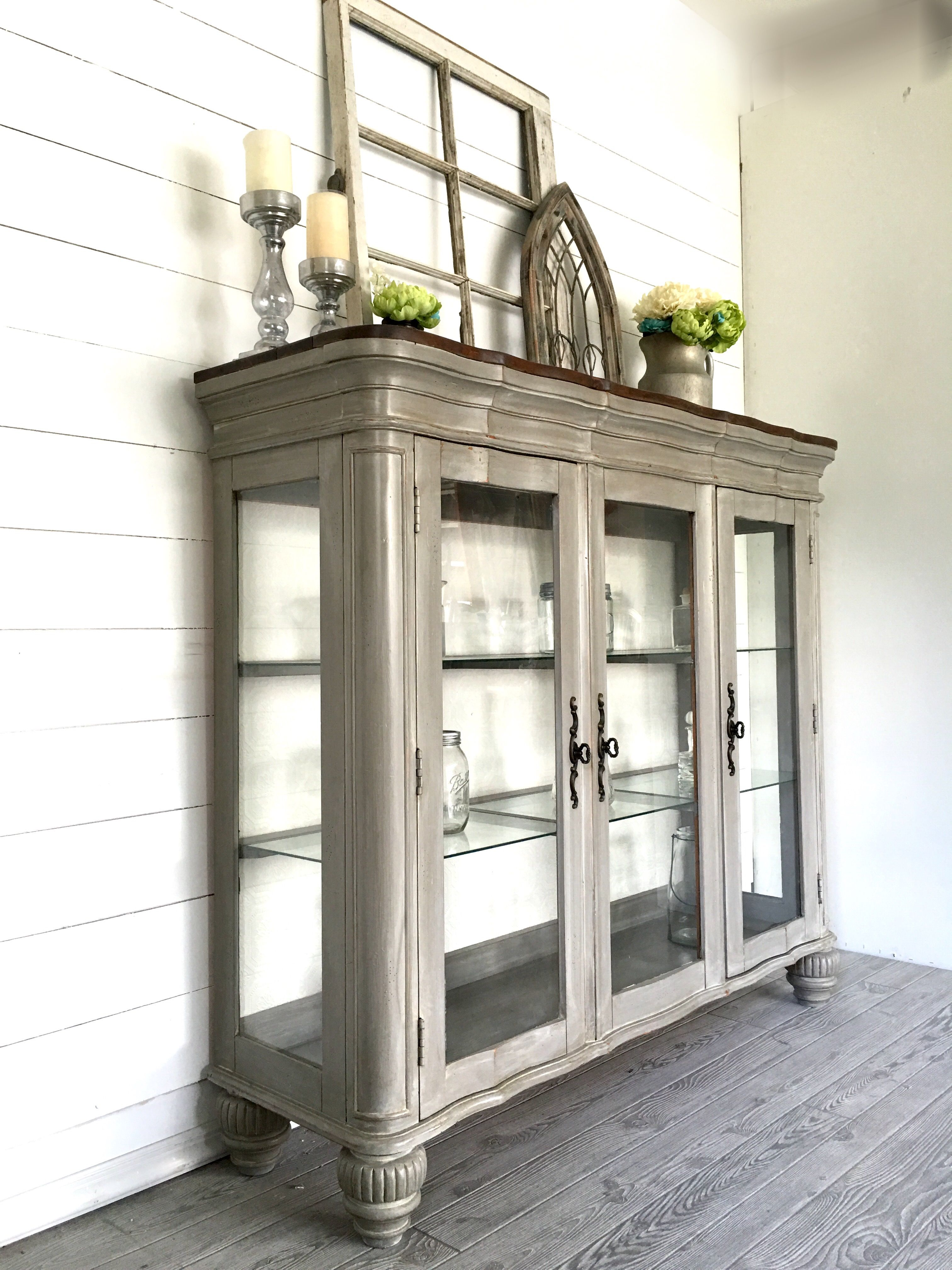 Grey white washed hutch by uturn design dream home u furnishings