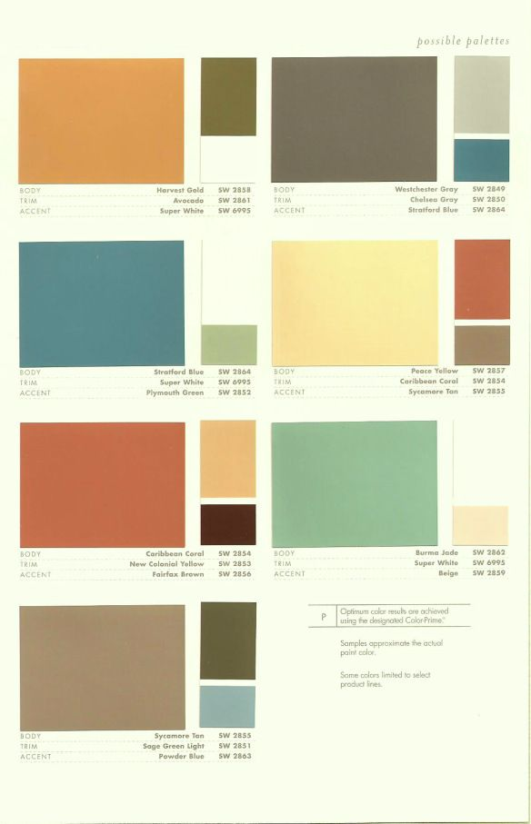 """Shermin-Williams has presented these """"retro"""" colors for the Fall 2009. This color palette fromthe 50's is now bringing a nostalgic, yet trendy flare to interior walls: Bringing a…"""