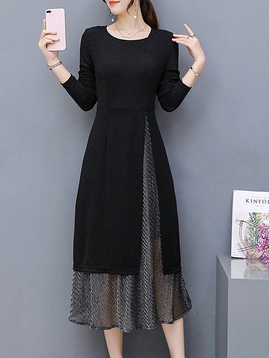 Shop dresses black cottonblend long sleeve two piece dress online