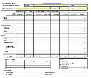 Travel Expense Report Form Template Spreadsheet