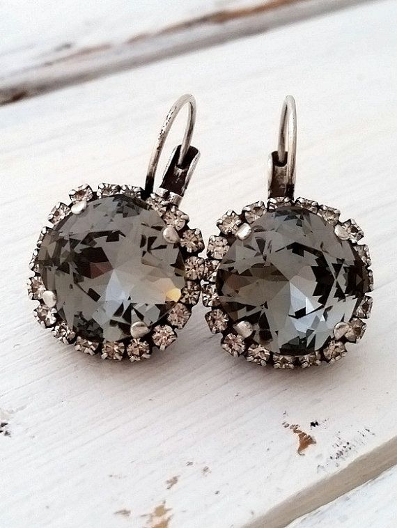 Gray drop earrings | Smokey Gray earrings by EldorTinaJewelry on Etsy | http://etsy.me/1SZaH1N