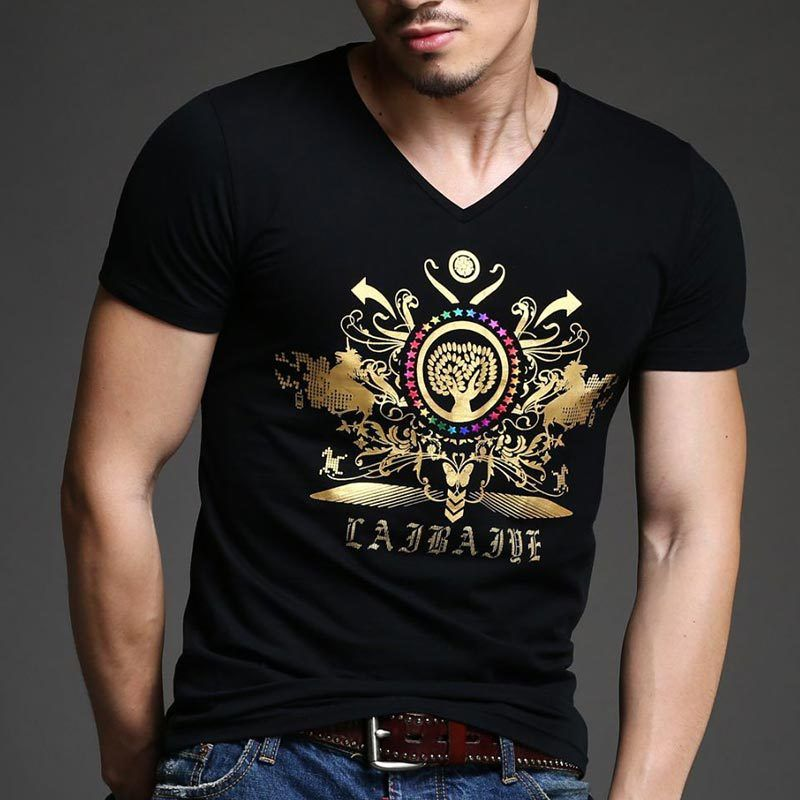 6f18daaf6a36 Click to Buy << 2017 Summer New Men's Brand T-Shirt Advanced Fashion Slim  Gold Printing T Shirt Plus Size Short-Sleeved Tee Shirt Men 4XL #Affiliate