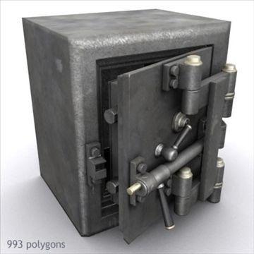 Antique Diebold Safe 01 3D Model- Antique Diebold safe, probably