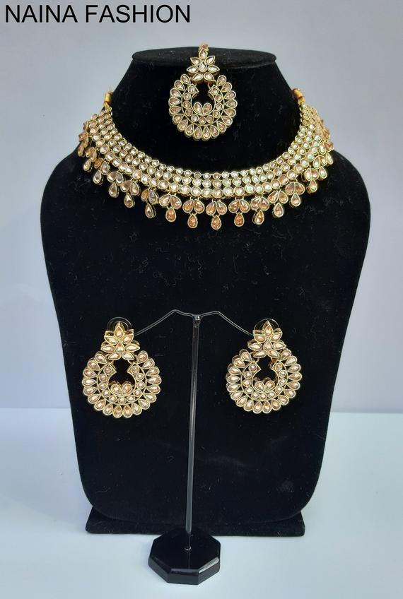 Indian Bollywood Jewelry Sky Blue Antique Necklace Earrings Set Global Kundan Fashionable And Attractive Packages Fashion Jewelry