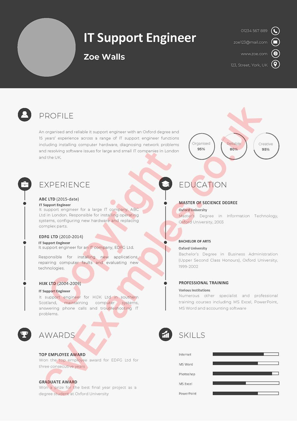 Free IT Support Engineer CV Example in 2020 Cv examples