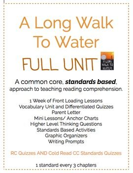 A Long Walk To Water UNIT CC Standards Based, Novel Study ...