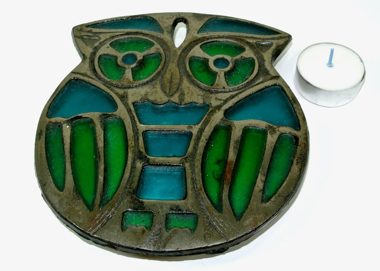Trivet Hot Plate Owl Metal Blue Green Resin Japan 1970s by pluckydotcollections on Etsy