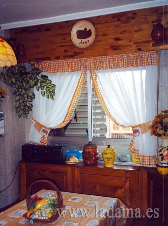 Cortinas para cocina rústica con abrazaderas /*-_-*/ Curtain sheer ...