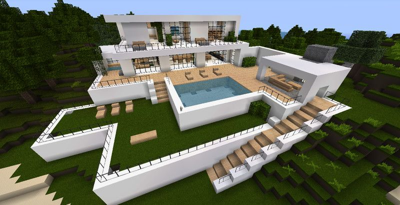 Case Moderne Minecraft : House with pool minecraft
