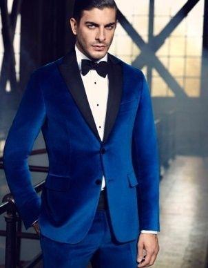 Royal Blue Men Suit Velvet Wedding Party Tuxedo Single-Breasted Jacket Pant Coat