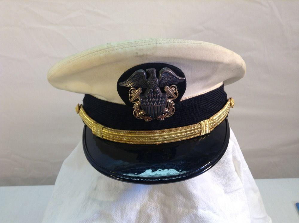 Vintage Bancroft Military Cap Us Navy Hat Size 7 3 8 Militaria Collectible Navy Hats Us Navy Hats Military Cap