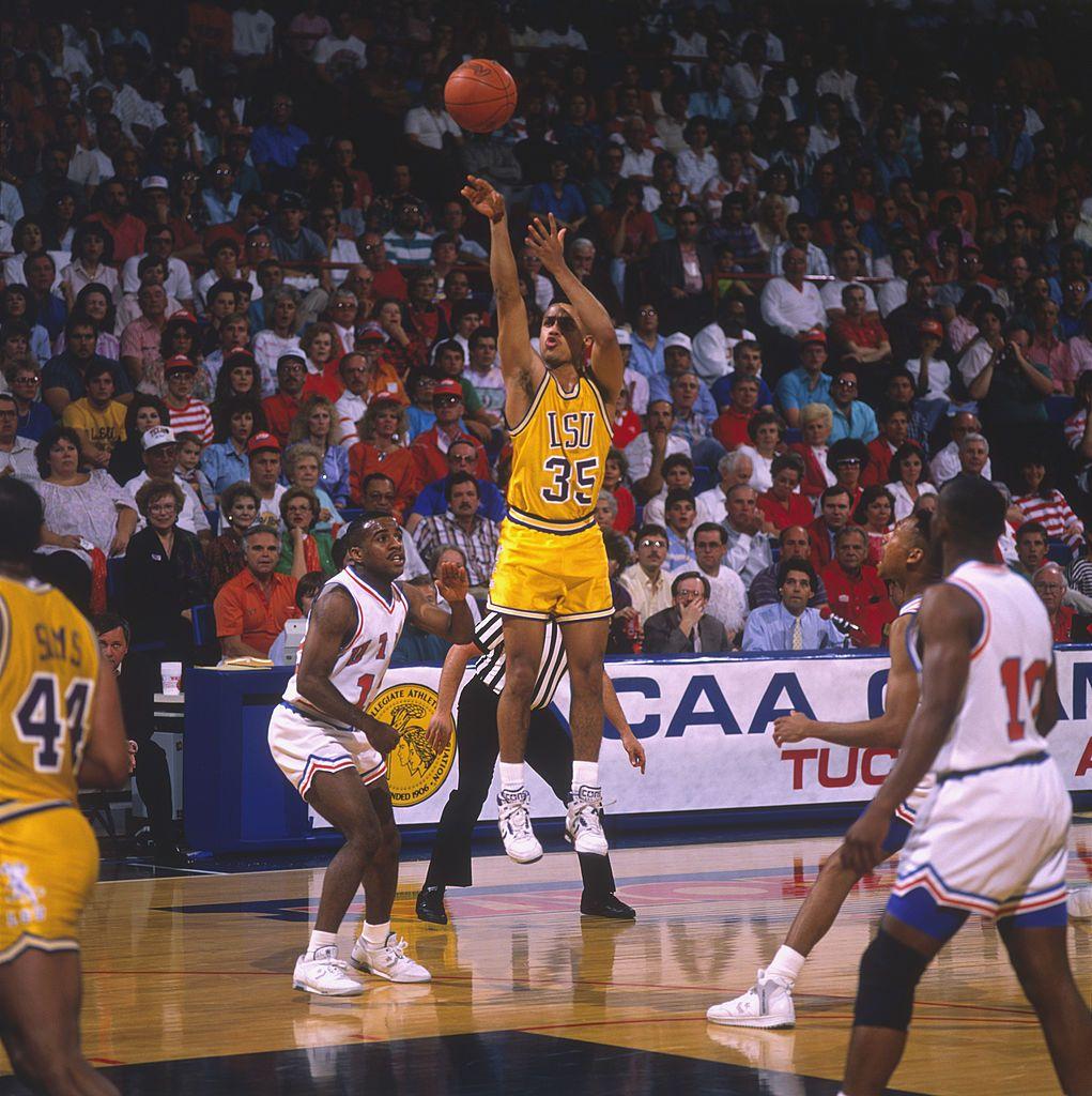 LSU player Chris Jackson makes a jumpshot circa the 1980's