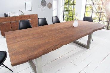 Massiver Baumstamm Tisch MAMMUT 200cm Hellbraun Akazie Massivholz  Industrial Chic Kufengestell Mit 5,5cm Dicker