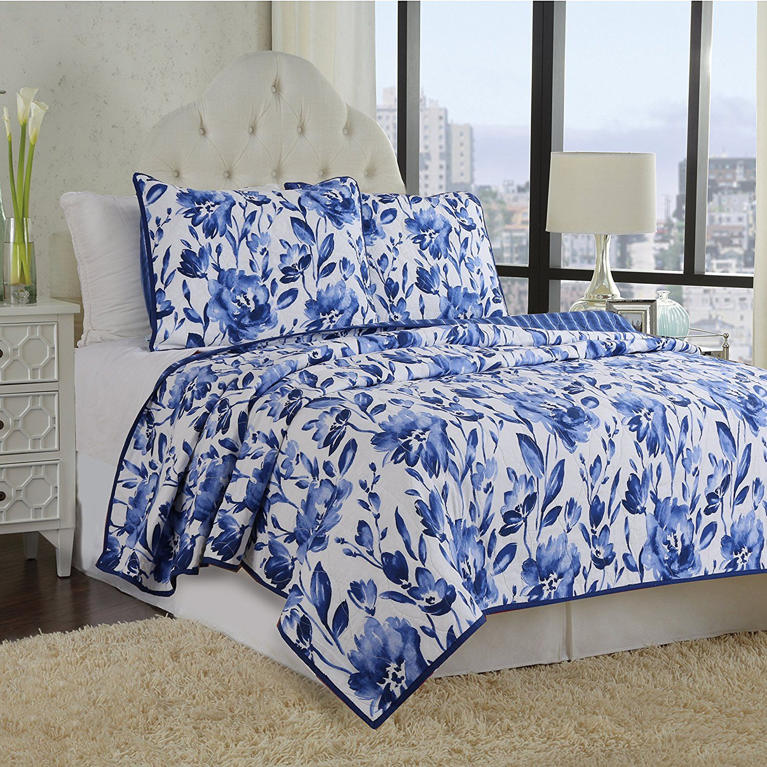 White and Blue Floral Bedding and other Beautiful Print
